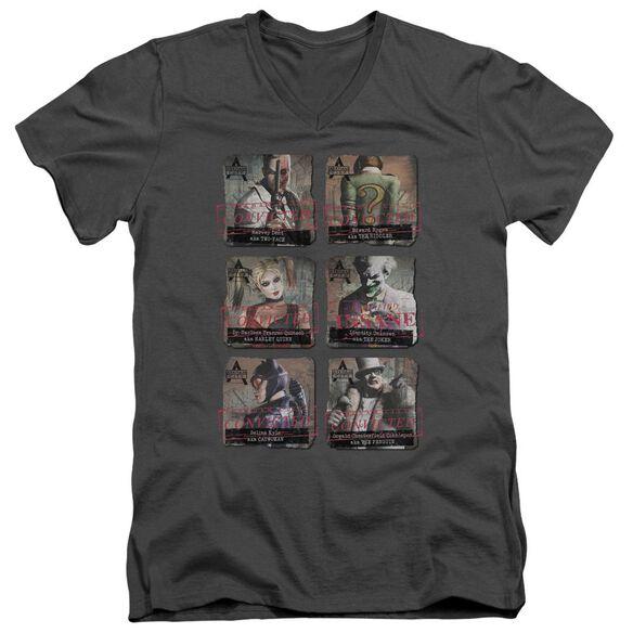 ARKHAM CITY ARKHAM LINEUP - S/S ADULT V-NECK - CHARCOAL T-Shirt