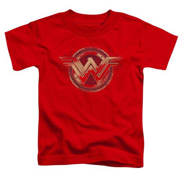 Batman V Superman Wonder Shield Short Sleeve Toddler Tee Red T-Shirt