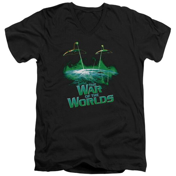 War Worlds Global Attack Short Sleeve Adult V Neck T-Shirt