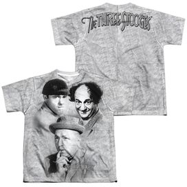 Three Stooges Signature (Front Back Print) Short Sleeve Youth Poly Crew T-Shirt