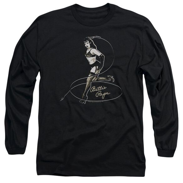 Bettie Page Whip It! Long Sleeve Adult T-Shirt
