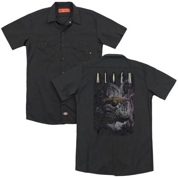 Alien Hugger(Back Print) Adult Work Shirt