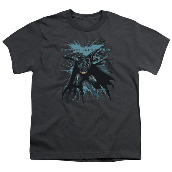 Dark Knight Rises Blue Crackle Short Sleeve Youth T-Shirt