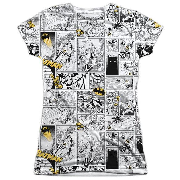 Batman Comic All Over Short Sleeve Junior 100% Poly Crew T-Shirt