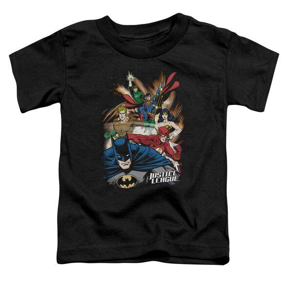 Jla Starburst Short Sleeve Toddler Tee Black Lg T-Shirt