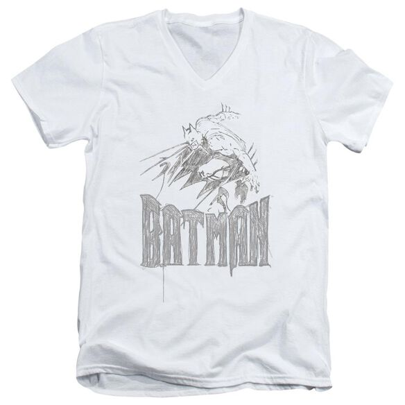 Batman Knight Sketch Short Sleeve Adult V Neck T-Shirt
