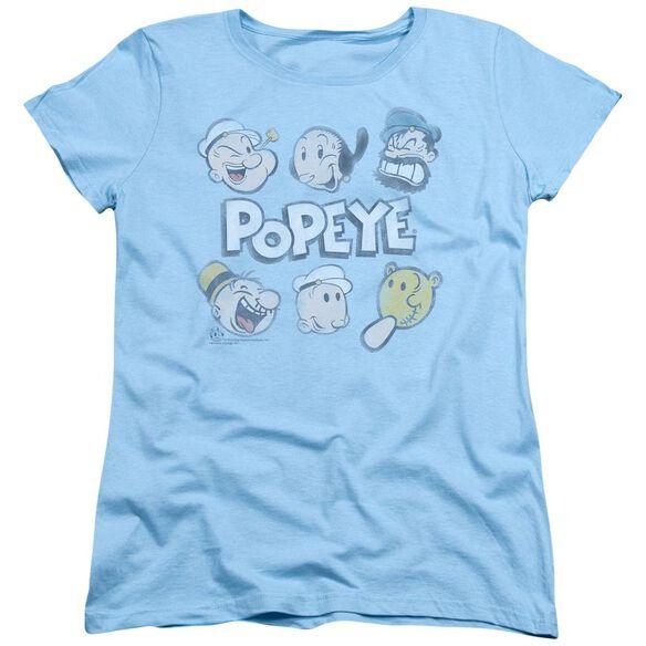 Popeye Heads Up Short Sleeve Womens Tee Light T-Shirt