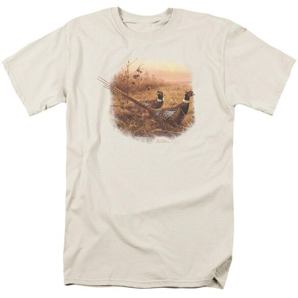 Wildlife First Alert Pheasants Short Sleeve Adult Cream T-Shirt
