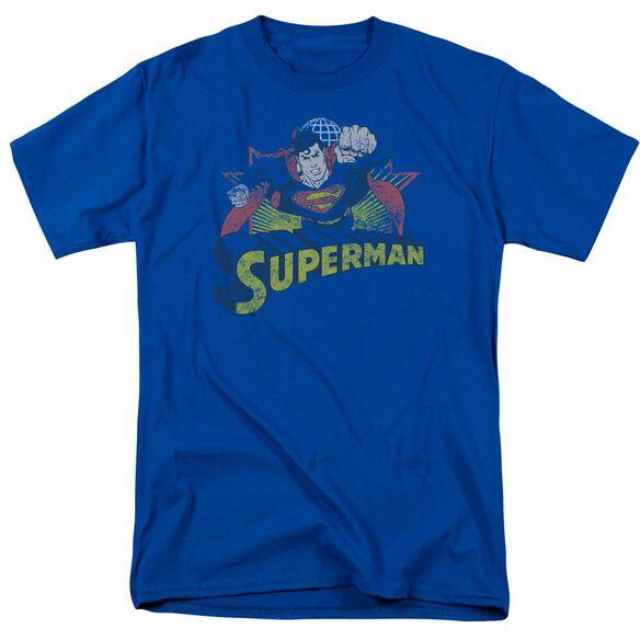 Jla Superman Rough Distress Short Sleeve Adult Royal T-Shirt