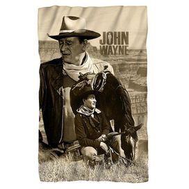 John Wayne Stoic Cowboy Fleece Blanket
