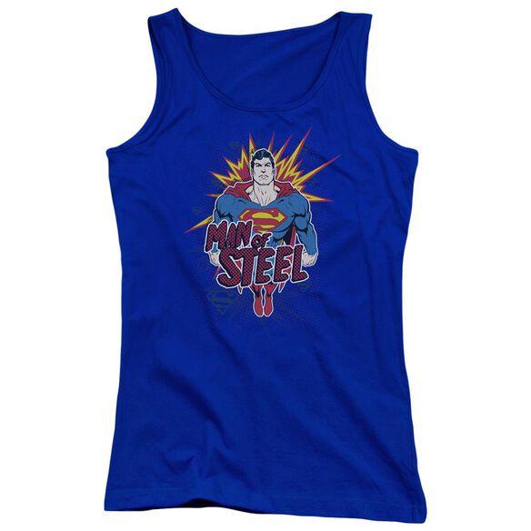 Superman Steel Pop Juniors Tank Top Royal