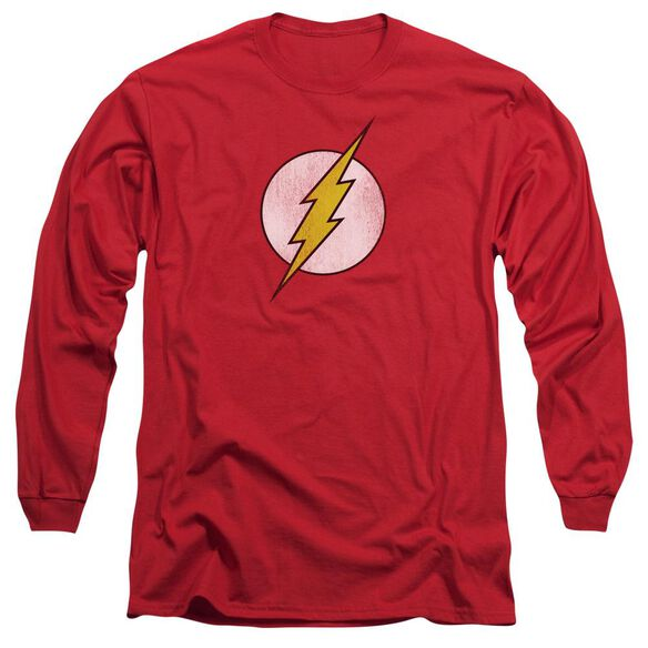 Dc Flash Flash Logo Distressed Long Sleeve Adult T-Shirt