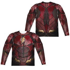 Justice League Movie Flash Uniform (Front Back Print) Long Sleeve Adult Poly Crew T-Shirt