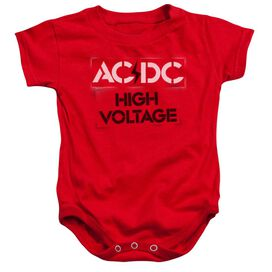 Acdc High Voltage Stencil Infant Snapsuit Red