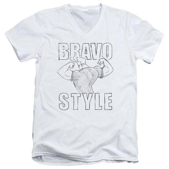 Johnny Bravo Bravo Style Short Sleeve Adult V Neck T-Shirt