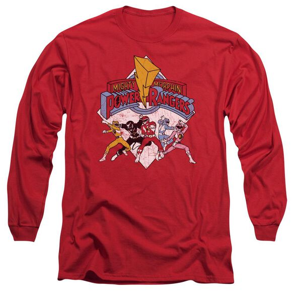 Power Rangers Retro Rangers Long Sleeve Adult T-Shirt