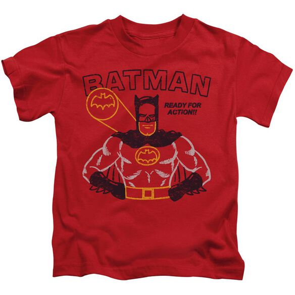 Batman Ready For Action Short Sleeve Juvenile Red T-Shirt