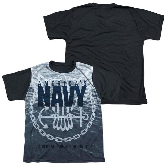 Navy Force For Good Short Sleeve Youth Front Black Back T-Shirt