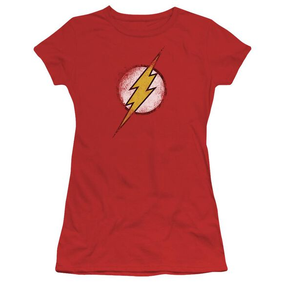 Jla Destroyed Flash Logo Short Sleeve Junior Sheer T-Shirt
