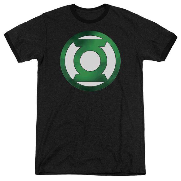 Green Lantern Green Chrome Logo Adult Heather Ringer