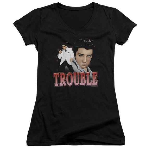 Elvis Presley Trouble - Junior V-neck - Black