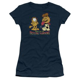 Garfield Drooling Pumpkins Short Sleeve Junior Sheer T-Shirt