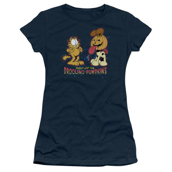 Garfield Drooling Pumpkins Short Sleeve Junior Sheer T-Shirt