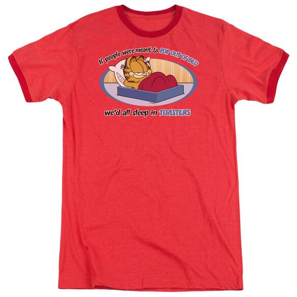 GARFIELD POP OUT OF BED - ADULT HEATHER RINGER - RED