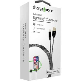 Chargeworx Twist Braid Lightning Connector [Black]