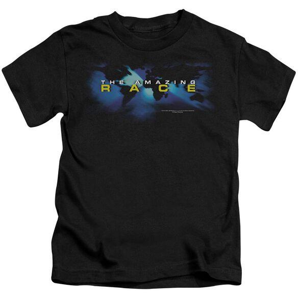 Amazing Race Faded Globe Short Sleeve Juvenile Black T-Shirt