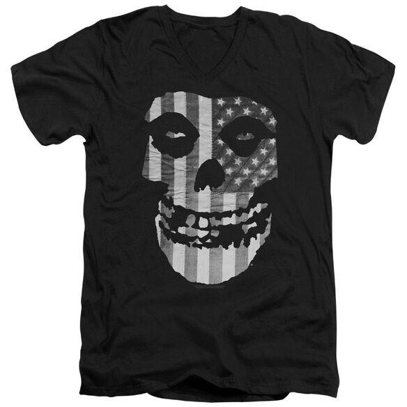 Misfits Fiend Flag Short Sleeve Adult V Neck T-Shirt