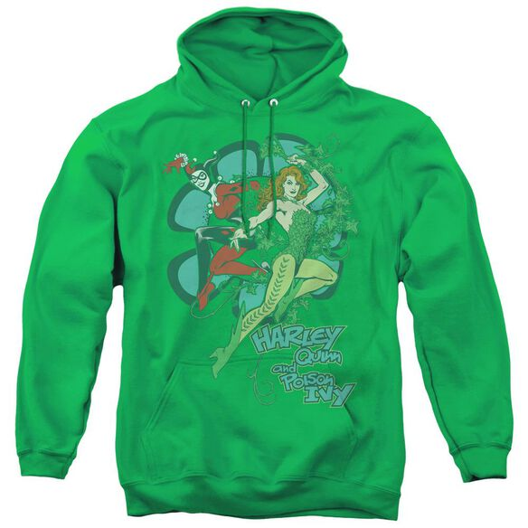 Dc Harley And Ivy - Adult Pull-over Hoodie - Kelly Green