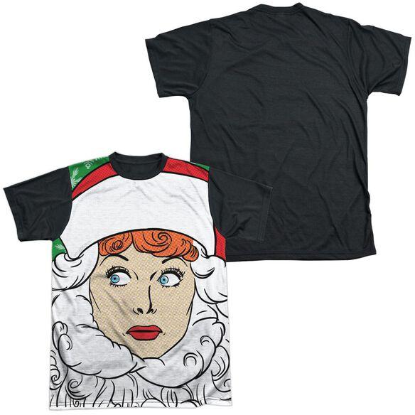 I Love Lucy Secret Santa Short Sleeve Adult Front Black Back T-Shirt