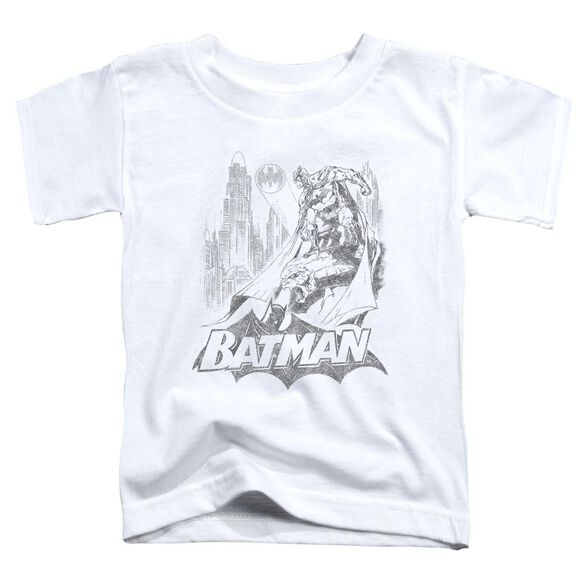 Batman Bat Sketch Short Sleeve Toddler Tee White Sm T-Shirt