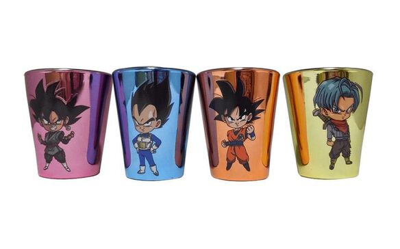 Dragon Ball Super Multicolor Metallic Finish Shot Glasses [Set of 4]