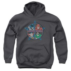 Jla Four Heroes-youth Pull-over Hoodie - Charcoal