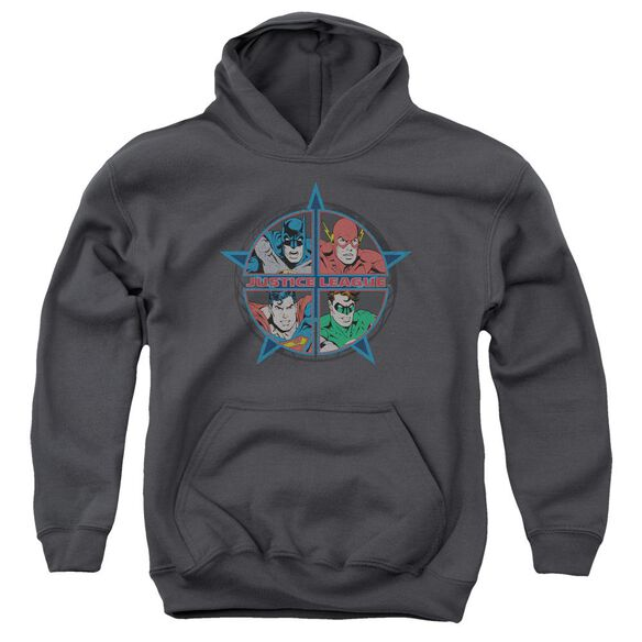 Jla Four Heroes Youth Pull Over Hoodie