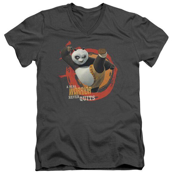 Kung Fu Panda Real Warrior Short Sleeve Adult V Neck T-Shirt