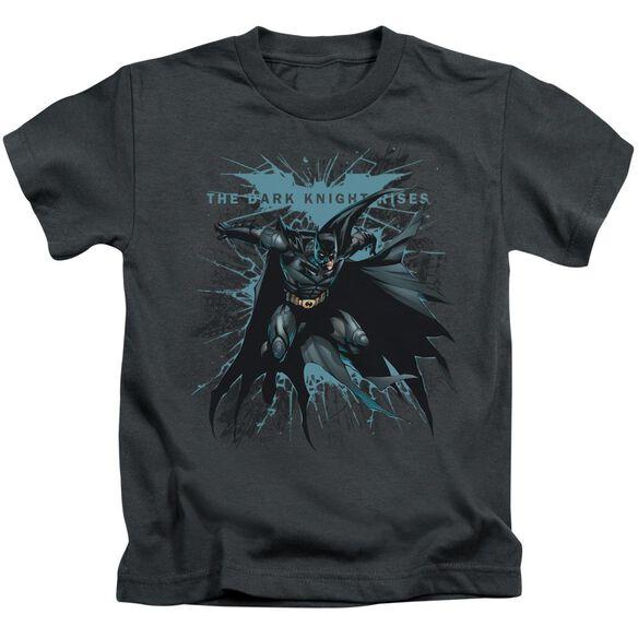 Dark Knight Rises Blue Crackle Short Sleeve Juvenile Charcoal Md T-Shirt