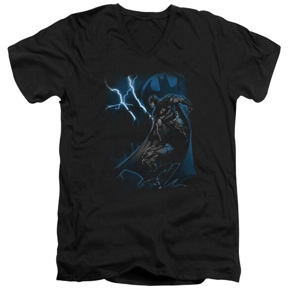 Batman Lightning Strikes Short Sleeve Adult V Neck T-Shirt