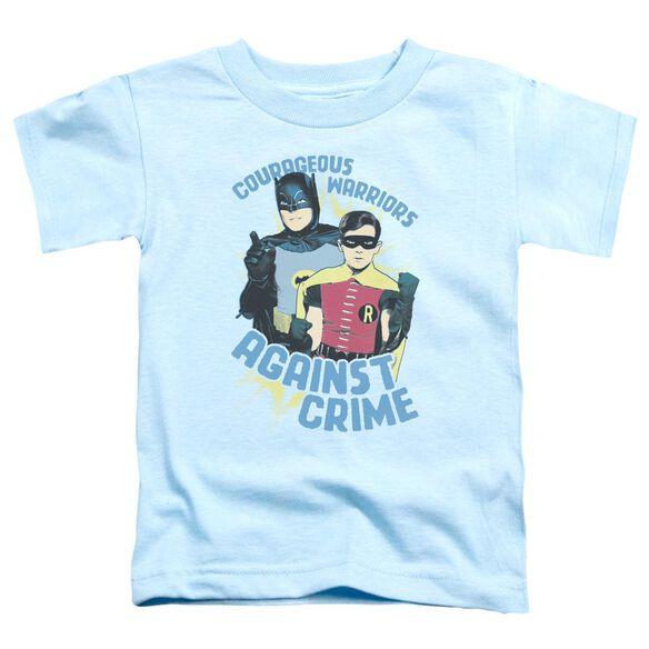 Batman Classic Tv Courageous Warriors Short Sleeve Toddler Tee Light Blue T-Shirt