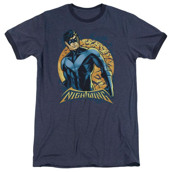 Batman Nightwing Moon Adult Heather Ringer Navy