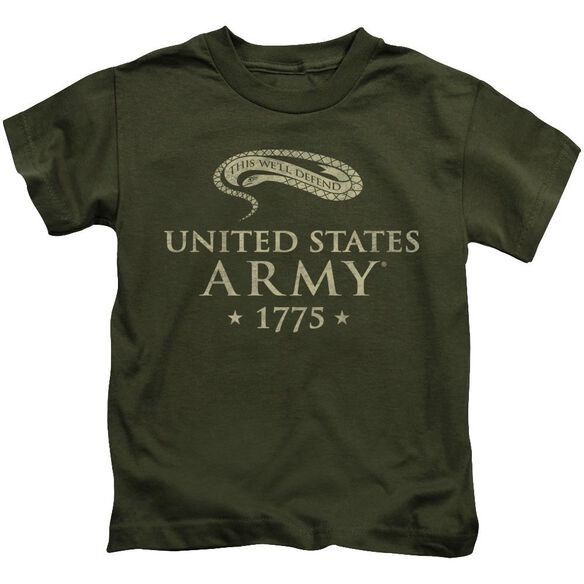 Army We'll Defend Short Sleeve Juvenile Military Green T-Shirt