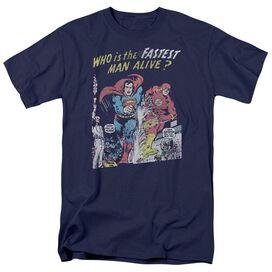 Jla Fastest Man Short Sleeve Adult Navy T-Shirt