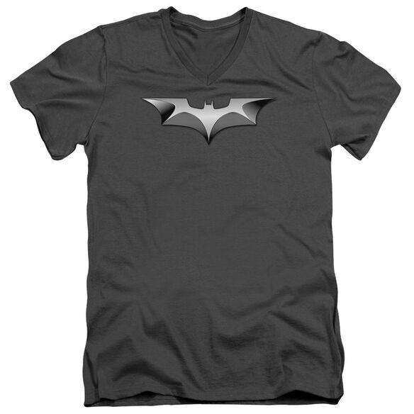 Dark Knight Metal Bat Logo Short Sleeve Adult V Neck T-Shirt