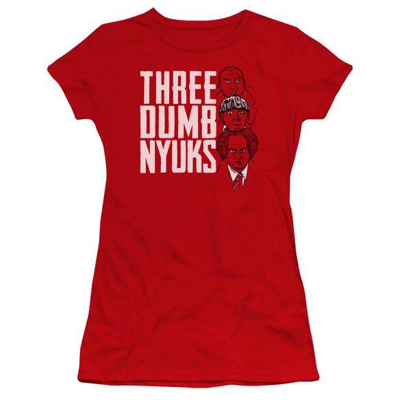 Three Stooges Three Dumb Nyuks Premium Bella Junior Sheer Jersey