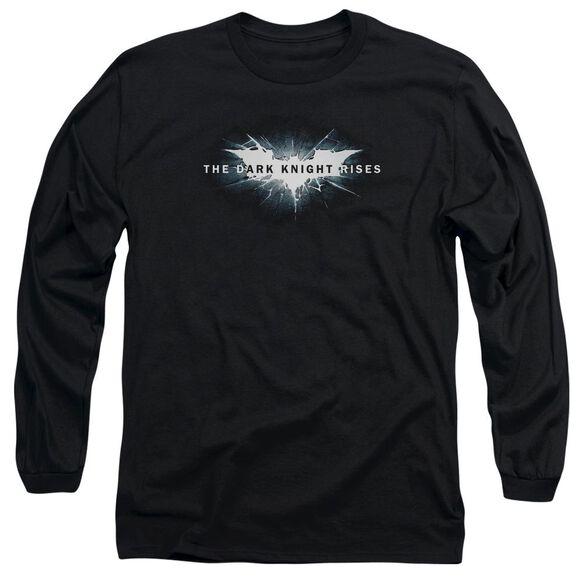 Dark Knight Rises Cracked Bat Logo Long Sleeve Adult T-Shirt