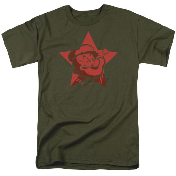 Popeye Red Star Short Sleeve Adult Military Green T-Shirt