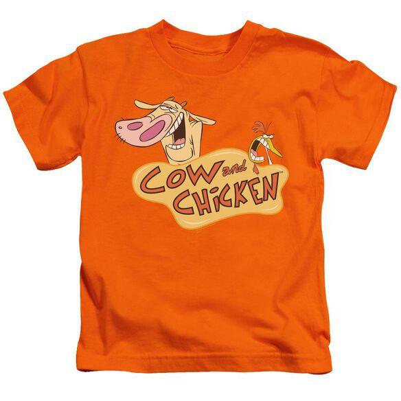 Cow & Chicken Logo Short Sleeve Juvenile Orange T-Shirt