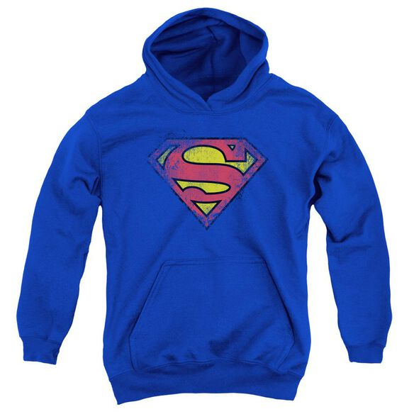 Superman Destroyed Supes Logo Youth Pull Over Hoodie Royal